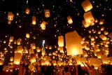 Floating Lanterns or 'Yee Peng' During the Loy Kratong Festival in Chiang Mai