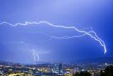 Lightning Strikes a Tower During a Thunderstorm in the Region of Zurich  Switzerland