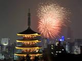 Fireworks Bloom over Pagoda of Sensoji Temple in Tokyo