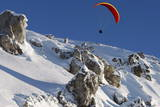 A Paraglider Flies over the Meter High Weisshorn Montain Above Arosa
