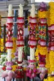 Thai Flower Garlands at a Flower Garland Market in Bangkok  Thailand