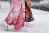 Young Japanese Women Walk Through the Snow in Tokyo  Japan