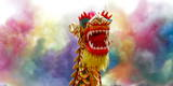 A Performer Holds the Dragon Head During a Performance of the Dragon Dance