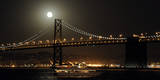 The Moon Rise over the Bay Bridge in San Francisco  California  USA