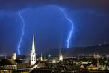 Thunderstorm Moves over the City of Zurich  Switzerland