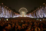 Revellers Celebrate the New Year on the Champs Elysees Avenue in Paris  France