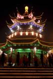 A Pagoda Is Illuminated at Night Beside a Canal in Suzhou  Jiangsu Province  China