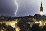 A Thunderstorm Accompanied by Thunder and Lightnings Moves over the City of Bern  Switzerland