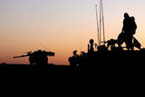 Israeli Infantry Soldiers on Top of an Armoured Personnel Carrier