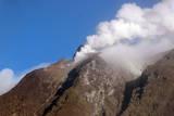White Smoke Rises from the Peak of Sinabung Volcano  Sumatra Island  Indonesia