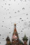 Rain Drops Gathered on a Car's Glass Window During a Rain Shower in Moscow