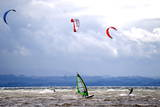 Wind and Kite Surfer Use the Trough of Low Pressure 'Emma' at the Lake Constance