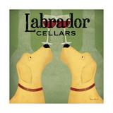 Two Labrador Wine Dogs Square Reproduction d'art par Ryan Fowler