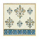 Regal Fleur de Lis Indigo and Cream