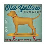 Golden Dog on Skateboard Reproduction d'art par Ryan Fowler
