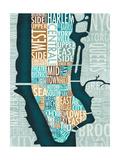 Manhattan Map Blue Brown Reproduction d'art par Michael Mullan
