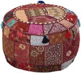 Morroccan Gypsy Round Pouf - Burgundy