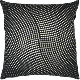 Midnight Metallic Circles Pillow Poly Fill - Black
