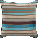 Velvet Stripe Down Fill Pillow - Aqua/Chocolate
