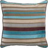 Velvet Stripe Pillow Poly Fill - Chocolate/Aqua