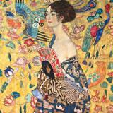 Dame mit Fächer Giclée premium par Gustav Klimt