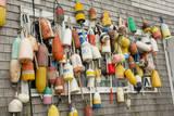 USA  Rhode Island  Block Island Fishing buoys and floats on a wall