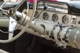 USA  Indiana  Carmel Steering wheel and dashboard in a classic car