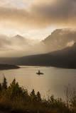 USA  Montana  Glacier NP Sunrise pierces clouds over St Mary Lake