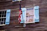 USA  Georgia  Savannah  Flag on an old building