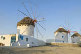Mykonos  Greece Famous five windmills at sunrise