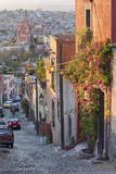 Mexico  San Miguel de Allende Street scene with overview of city