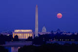 Moonrise over the Lincoln Memorial  Capitol  Washington  DC