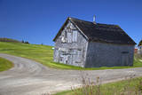 Canada  Nova Scotia Aged barn at a forked road