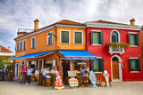 Italy  Burano  Colorful Houses and Restaurant of Burano