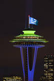 Space Needle with Seahawk colors and 12th man flag Washington  USA