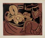 LC - Femme couchée et homme à la guitare Reproduction pour collectionneurs par Pablo Picasso