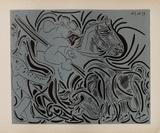LC - Pique (fond bleu) Reproduction pour collectionneurs par Pablo Picasso