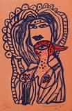Femme et oiseau au bec rouge