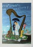 Les mariés sous le parapluie
