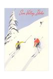 Sun Valley  Skiers on Steep Slope