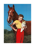 Woman with Collie Puppy and Horse