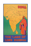 India Travel Poster  Lord Buddha