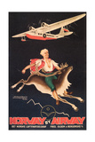 Norway Travel Poster  Man on Caribou