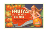 Fruit Crate Label  Mermaid