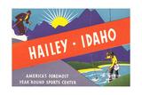 Travel Poster Hailey  Skiing  Fishing