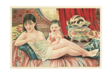 Semi-Nude Asian Woman with Infant and Cats