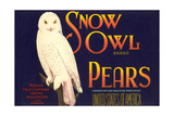 Snow Owl Pear Label