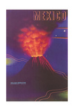 Volcano  Mexican Travel Poster