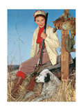 Woman with Rifle  Dog and Pheasant