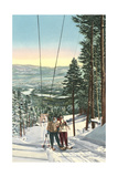 Girls on Skis Riding Tow Rope